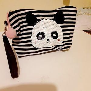 No Boundaries Sequin Panda Pouch Bag